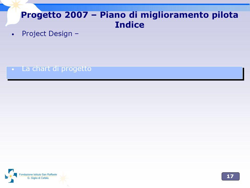 17 Project Design – La chart di progetto Progetto 2007 – Piano di miglioramento pilota Indice