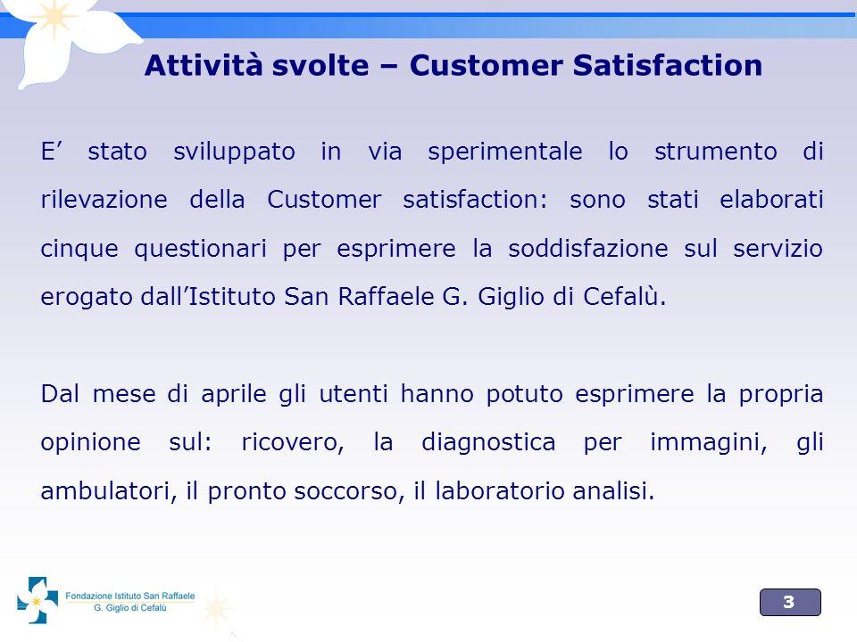 3 Attività svolte – Customer Satisfaction E stato sviluppato in via sperimentale lo strumento di rilevazione della Customer satisfaction: sono stati e