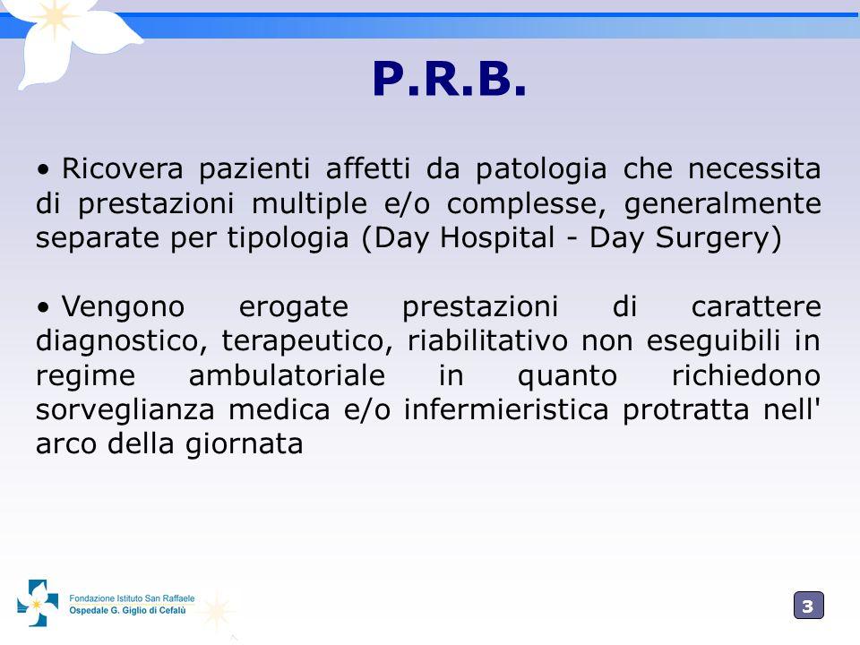 3 Ricovera pazienti affetti da patologia che necessita di prestazioni multiple e/o complesse, generalmente separate per tipologia (Day Hospital - Day