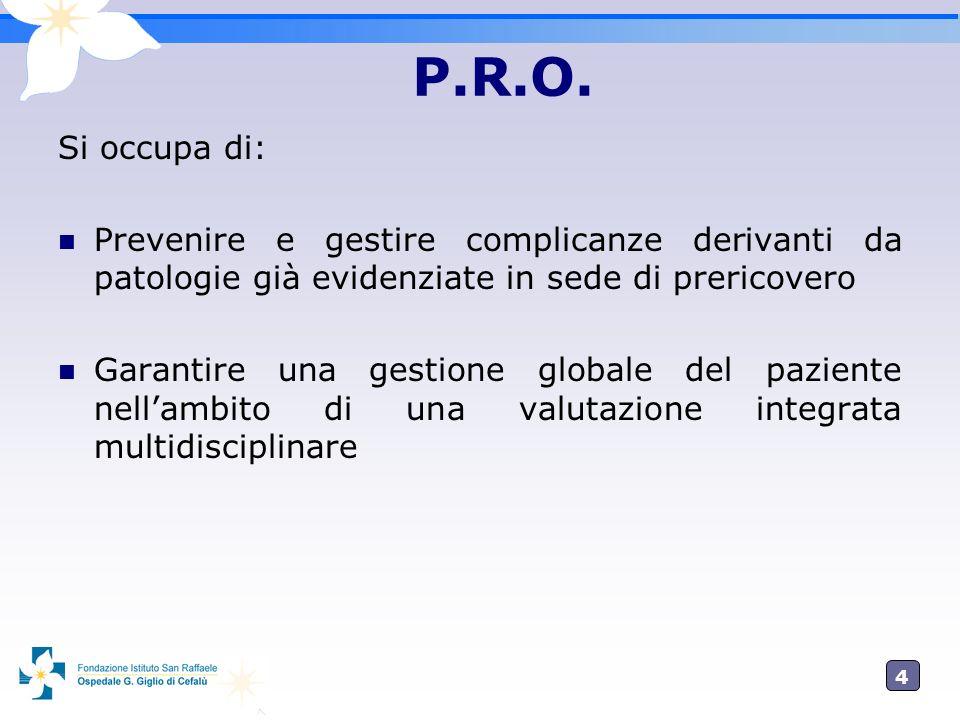 4 P.R.O. Si occupa di: Prevenire e gestire complicanze derivanti da patologie già evidenziate in sede di prericovero Garantire una gestione globale de