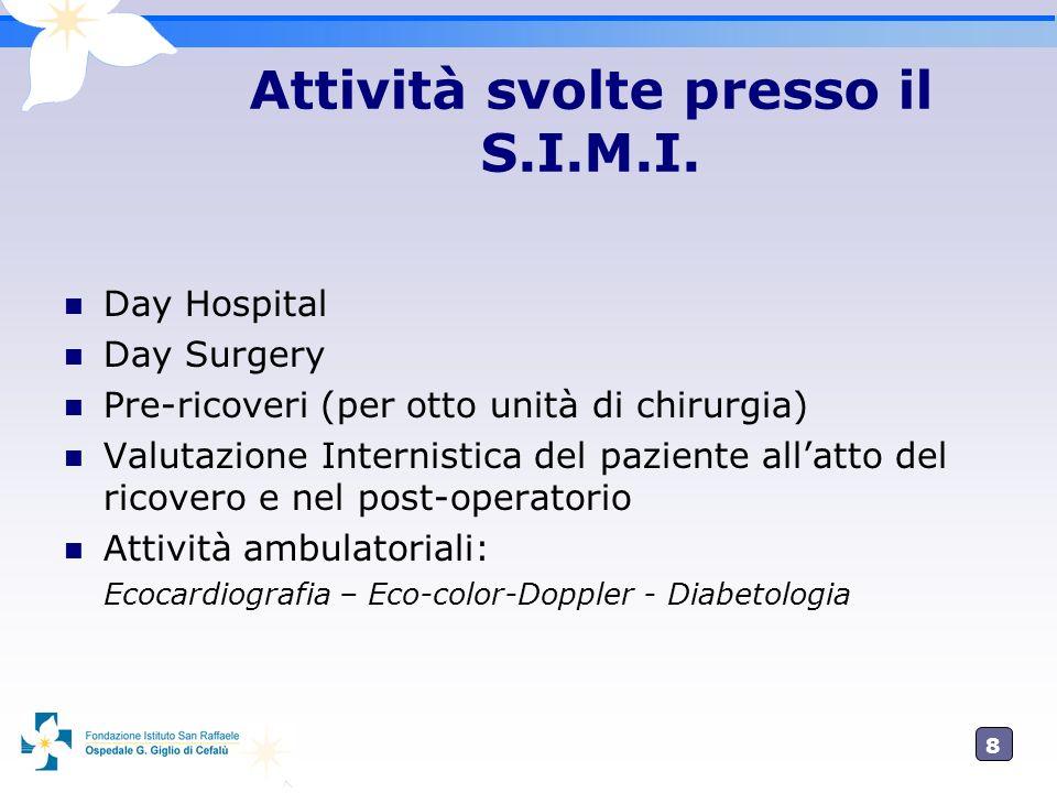 8 Attività svolte presso il S.I.M.I. Day Hospital Day Surgery Pre-ricoveri (per otto unità di chirurgia) Valutazione Internistica del paziente allatto