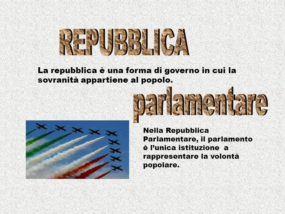 La repubblica è una forma di governo in cui la sovranità appartiene al popolo.