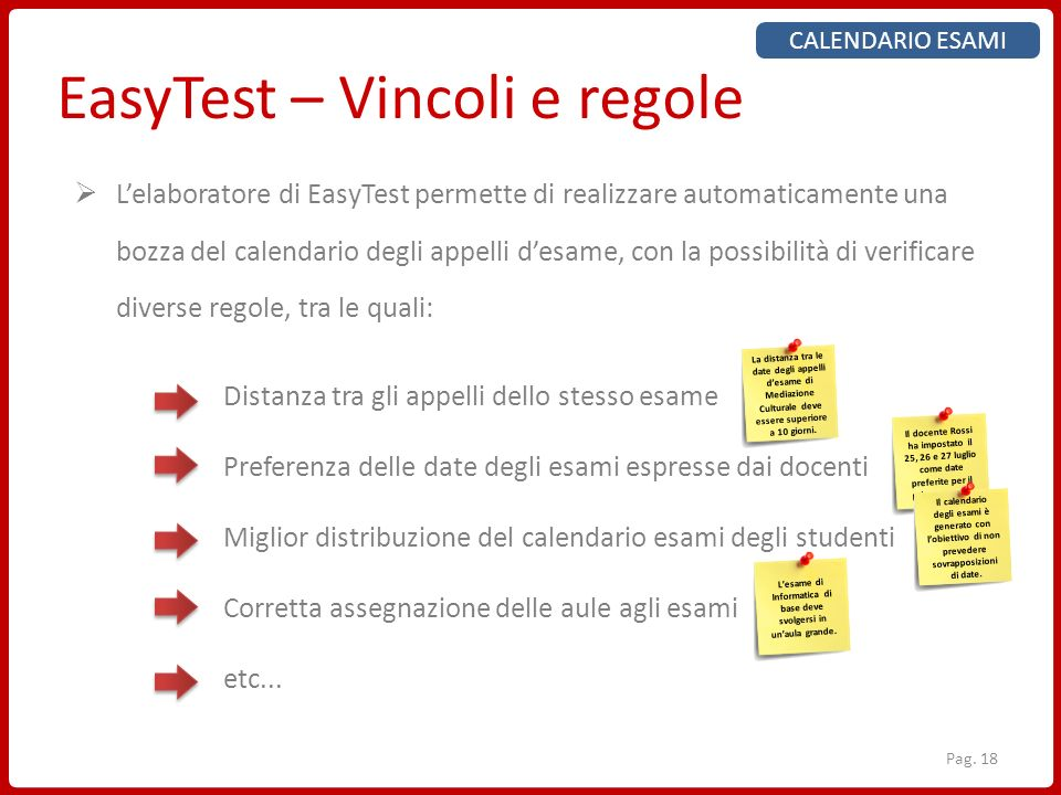 EasyTest – Vincoli e regole CALENDARIO ESAMI Lelaboratore di EasyTest permette di realizzare automaticamente una bozza del calendario degli appelli de