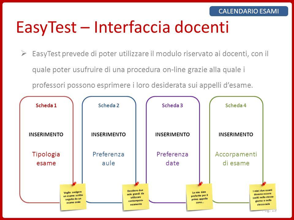 Pag. 19 EasyTest – Interfaccia docenti CALENDARIO ESAMI EasyTest prevede di poter utilizzare il modulo riservato ai docenti, con il quale poter usufru