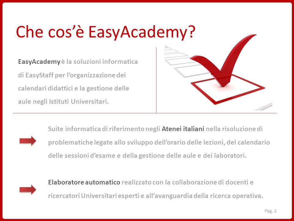 EasyAcademy è la soluzioni informatica di EasyStaff per lorganizzazione dei calendari didattici e la gestione delle aule negli Istituti Universitari.