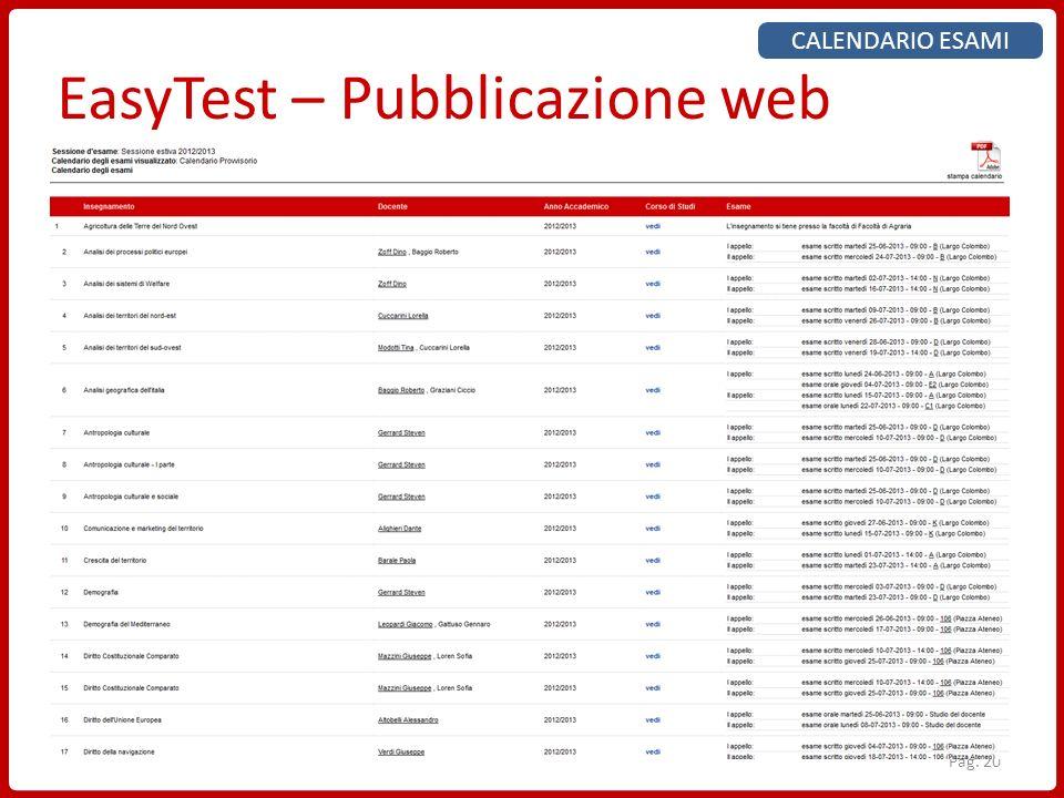 Pag. 20 EasyTest – Pubblicazione web CALENDARIO ESAMI