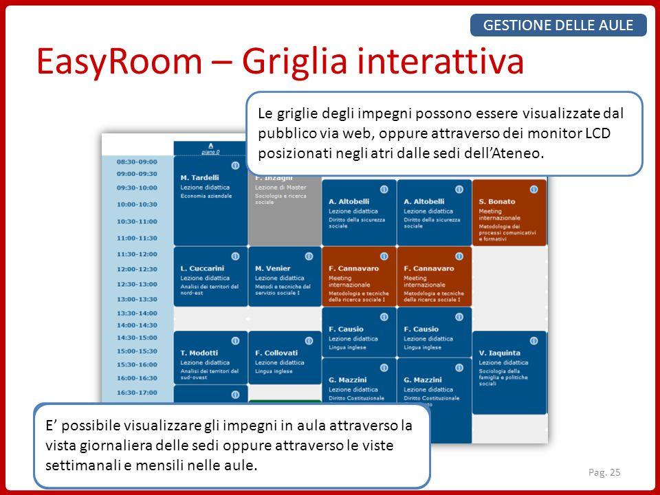 EasyRoom – Griglia interattiva Ogni prenotazione è descritta da un colore secondo il tipo di evento oppure la Struttura Didattica afferente Le celle p