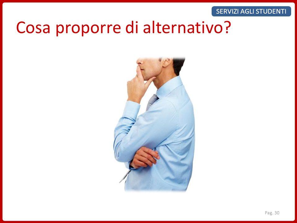 SERVIZI AGLI STUDENTI Cosa proporre di alternativo? Pag. 30