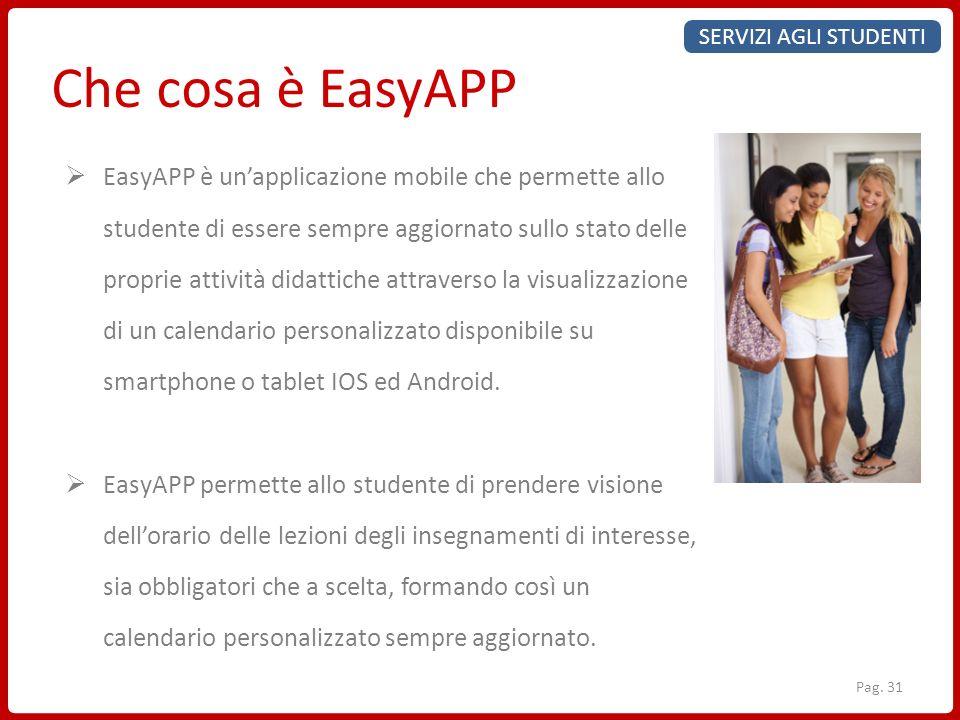 SERVIZI AGLI STUDENTI Che cosa è EasyAPP EasyAPP è unapplicazione mobile che permette allo studente di essere sempre aggiornato sullo stato delle prop