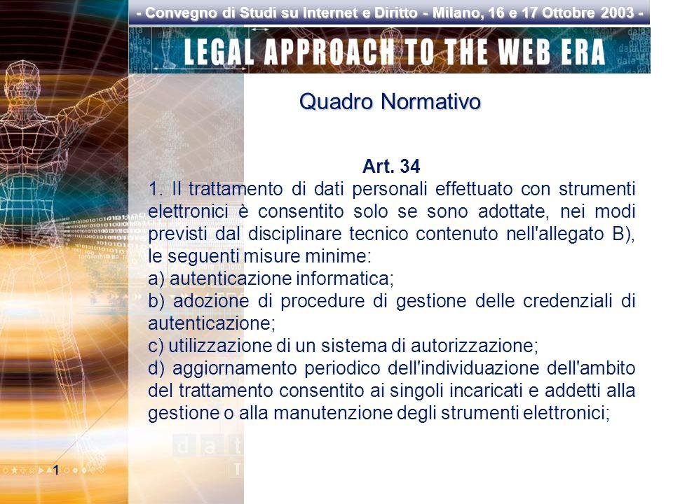 1 - Convegno di Studi su Internet e Diritto - Milano, 16 e 17 Ottobre 2003 - Quadro Normativo Art.