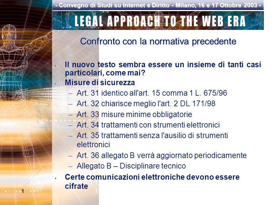1 - Convegno di Studi su Internet e Diritto - Milano, 16 e 17 Ottobre 2003 - Confronto con la normativa precedente Il nuovo testo sembra essere un insieme di tanti casi particolari, come mai.
