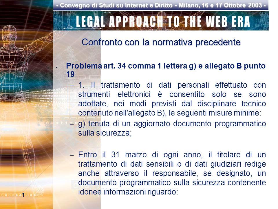 1 - Convegno di Studi su Internet e Diritto - Milano, 16 e 17 Ottobre 2003 - Confronto con la normativa precedente Problema art.