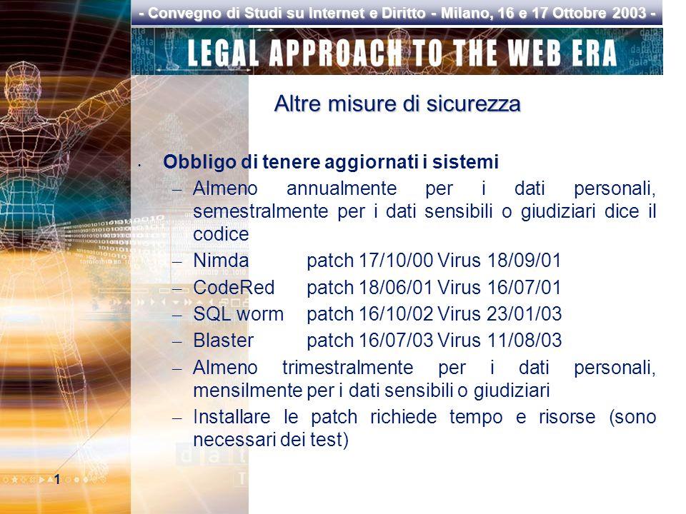 1 - Convegno di Studi su Internet e Diritto - Milano, 16 e 17 Ottobre 2003 - Altre misure di sicurezza Obbligo di tenere aggiornati i sistemi – Almeno annualmente per i dati personali, semestralmente per i dati sensibili o giudiziari dice il codice – Nimdapatch 17/10/00 Virus 18/09/01 – CodeRedpatch 18/06/01 Virus 16/07/01 – SQL wormpatch 16/10/02 Virus 23/01/03 – Blasterpatch 16/07/03 Virus 11/08/03 – Almeno trimestralmente per i dati personali, mensilmente per i dati sensibili o giudiziari – Installare le patch richiede tempo e risorse (sono necessari dei test)