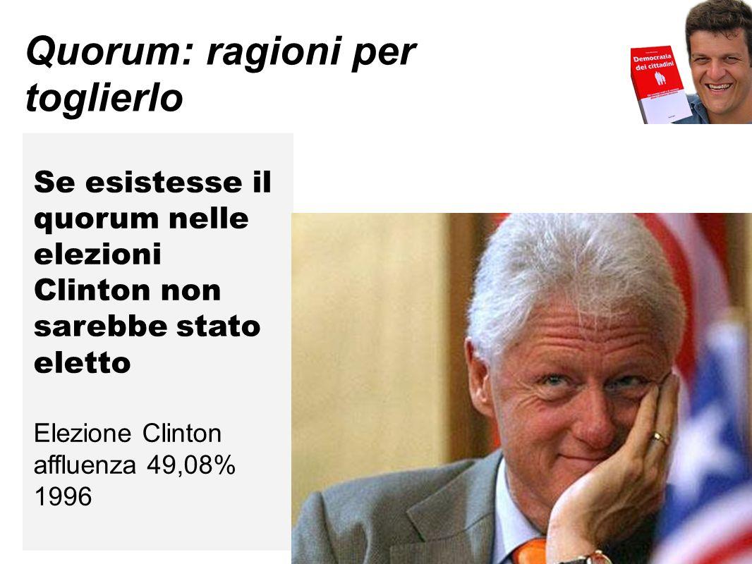 Quorum: ragioni per toglierlo Se esistesse il quorum nelle elezioni Clinton non sarebbe stato eletto Elezione Clinton affluenza 49,08% 1996