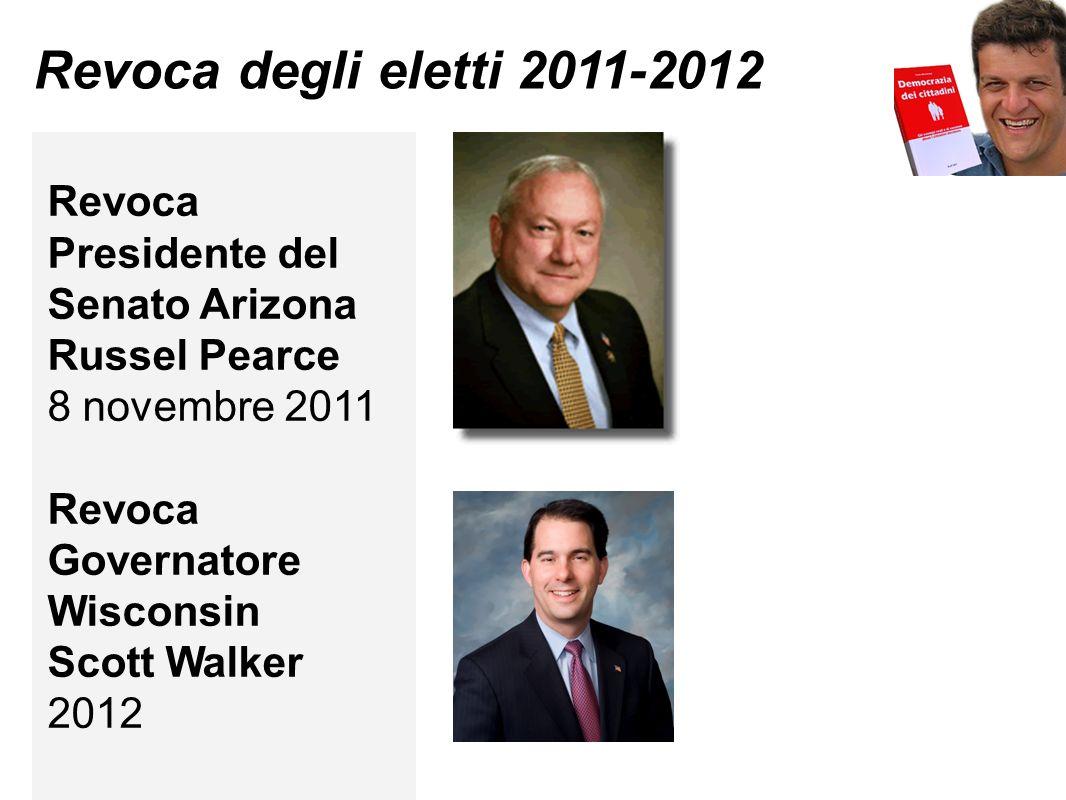 Revoca degli eletti 2011-2012 Revoca Presidente del Senato Arizona Russel Pearce 8 novembre 2011 Revoca Governatore Wisconsin Scott Walker 2012