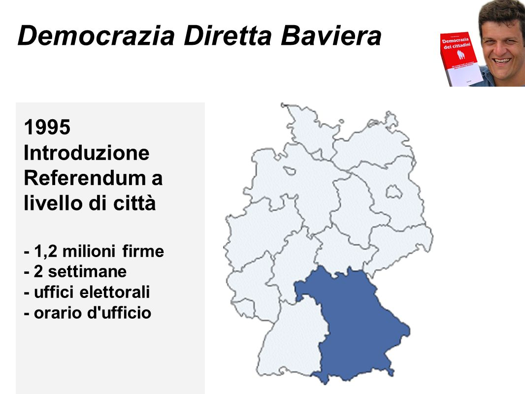 Democrazia Diretta Baviera 1995 Introduzione Referendum a livello di città - 1,2 milioni firme - 2 settimane - uffici elettorali - orario d ufficio