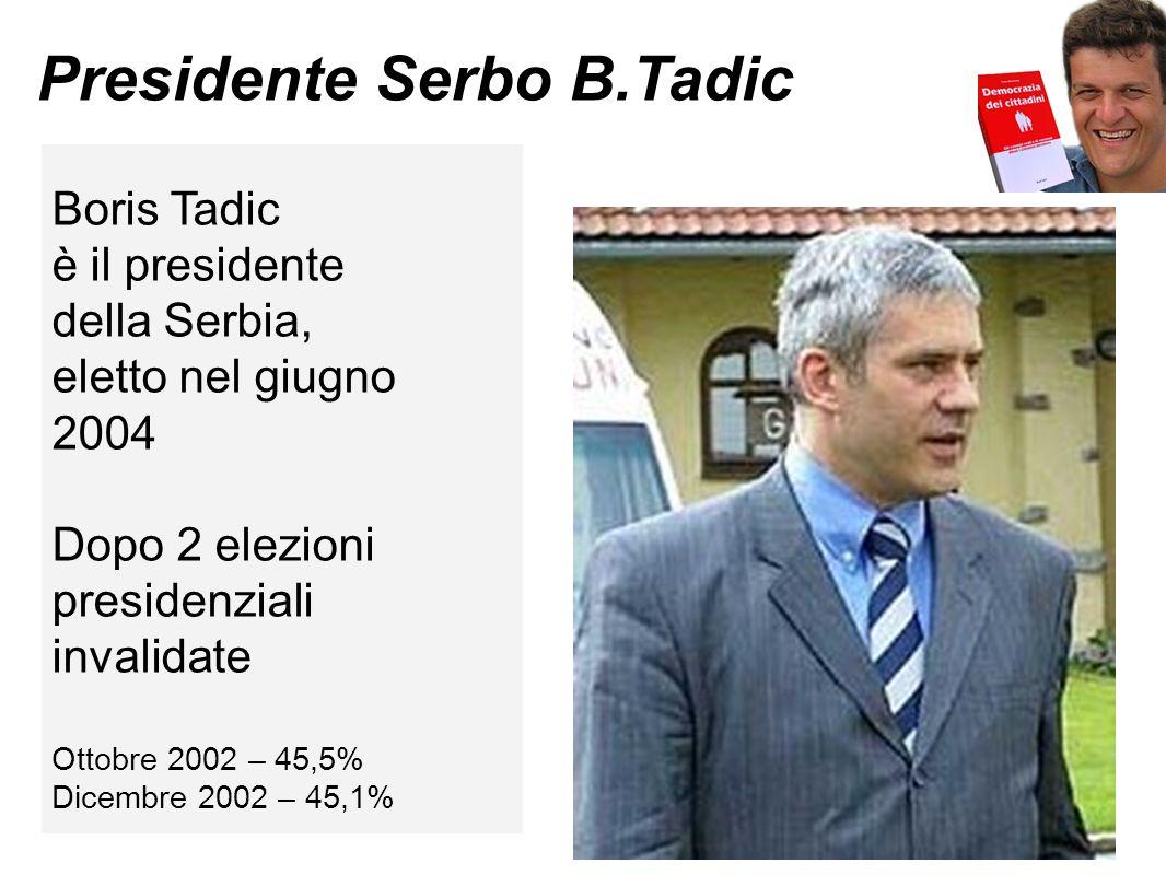 Presidente Serbo B.Tadic Boris Tadic è il presidente della Serbia, eletto nel giugno 2004 Dopo 2 elezioni presidenziali invalidate Ottobre 2002 – 45,5% Dicembre 2002 – 45,1%