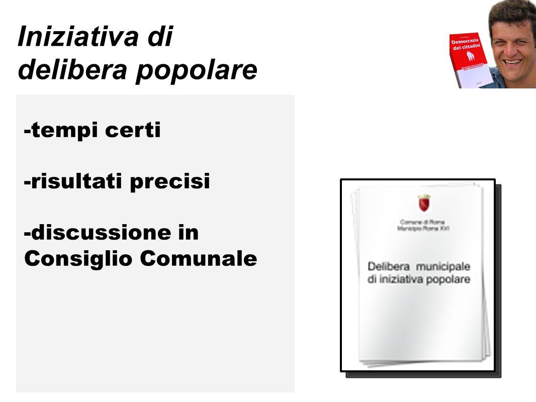 Iniziativa di delibera popolare -tempi certi -risultati precisi -discussione in Consiglio Comunale