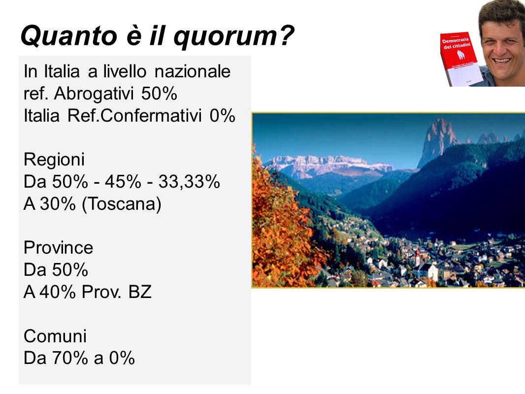 L esempio di 12 comuni A Cortaccia (BZ) dal 2009 il quorum è 15% A S.