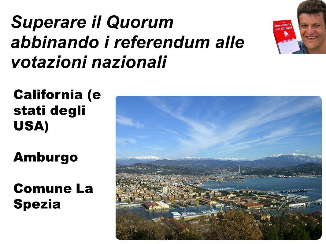 Superare il Quorum abbinando i referendum alle votazioni nazionali California (e stati degli USA) Amburgo Comune La Spezia