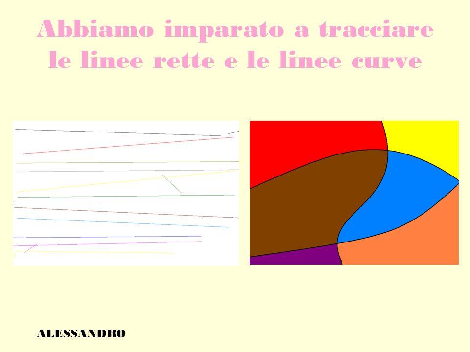 Abbiamo imparato a tracciare le linee rette e le linee curve ALESSANDRO