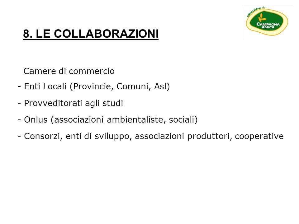 8. LE COLLABORAZIONI Camere di commercio - Enti Locali (Provincie, Comuni, Asl) - Provveditorati agli studi - Onlus (associazioni ambientaliste, socia