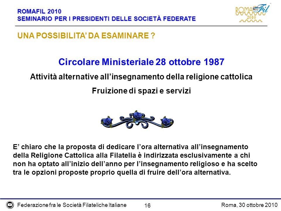Federazione fra le Società Filateliche ItalianeRoma, 30 ottobre 2010 ROMAFIL 2010 SEMINARIO PER I PRESIDENTI DELLE SOCIETÀ FEDERATE 16 UNA POSSIBILITA