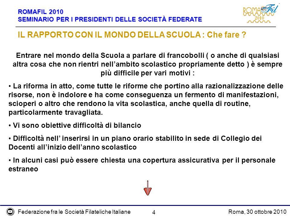 Federazione fra le Società Filateliche ItalianeRoma, 30 ottobre 2010 ROMAFIL 2010 SEMINARIO PER I PRESIDENTI DELLE SOCIETÀ FEDERATE 15 UNA CIRCOLARE DA SFRUTTARE .