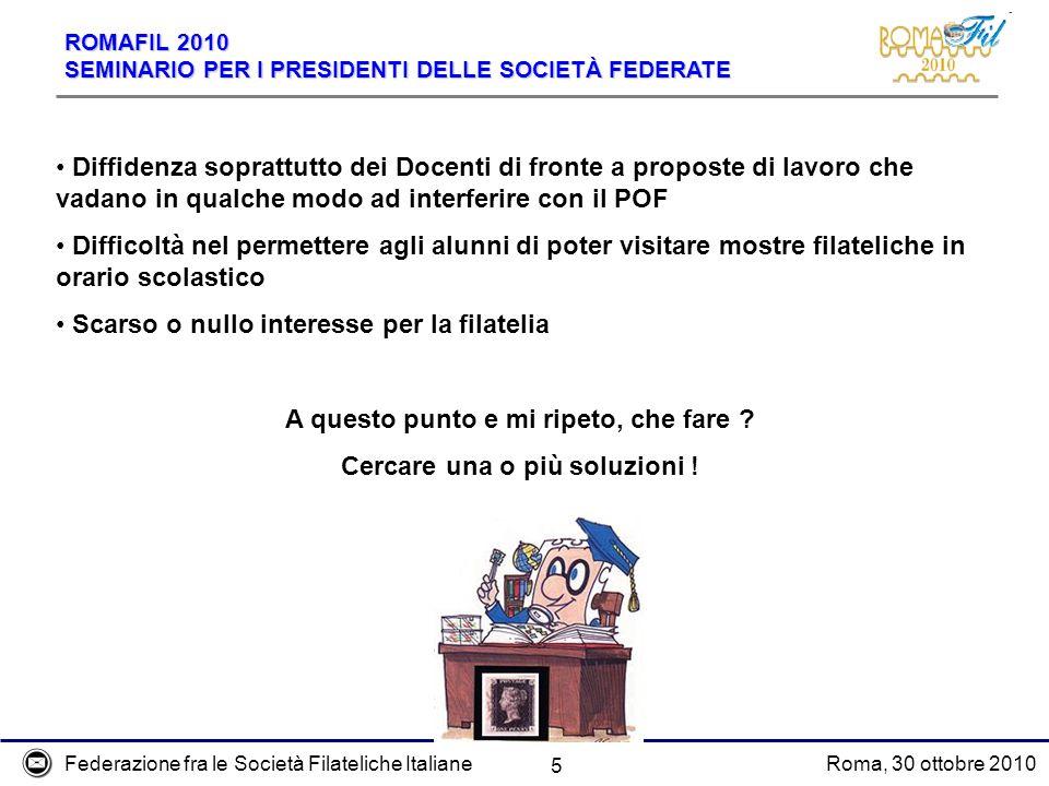 Federazione fra le Società Filateliche ItalianeRoma, 30 ottobre 2010 ROMAFIL 2010 SEMINARIO PER I PRESIDENTI DELLE SOCIETÀ FEDERATE 6 CHE FARE .