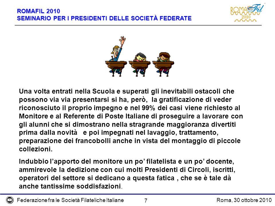 Federazione fra le Società Filateliche ItalianeRoma, 30 ottobre 2010 ROMAFIL 2010 SEMINARIO PER I PRESIDENTI DELLE SOCIETÀ FEDERATE 7 Una volta entrat