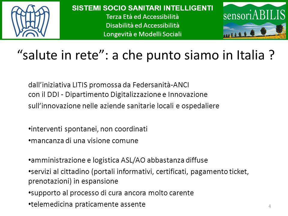 SISTEMI SOCIO SANITARI INTELLIGENTI Terza Età ed Accessibilità Disabilità ed Accessibilità Longevità e Modelli Sociali 4 salute in rete: a che punto siamo in Italia .