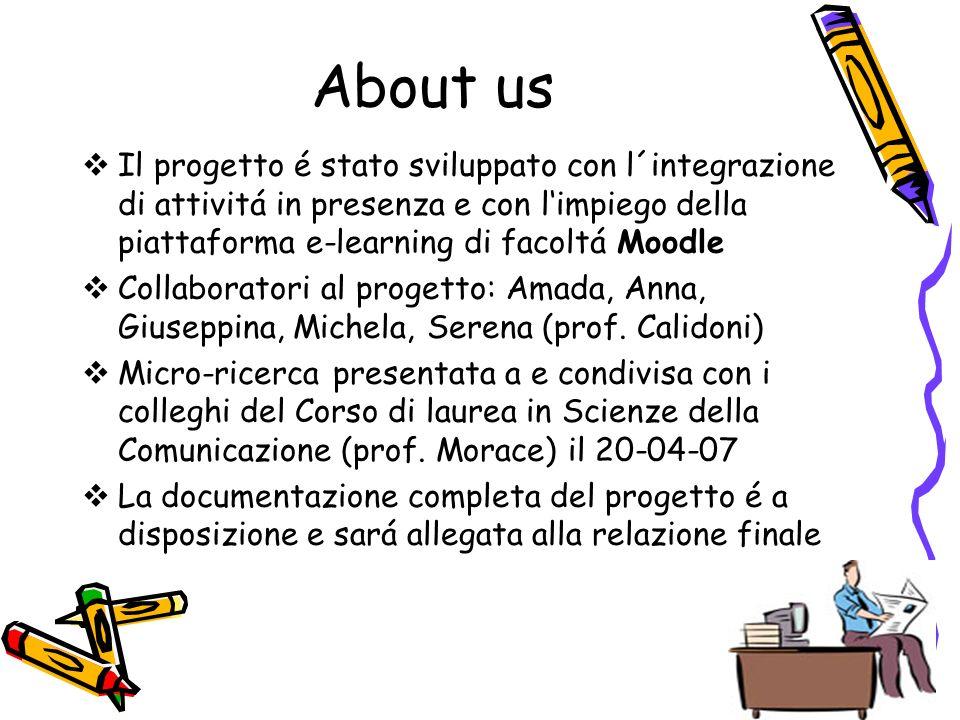 About us Il progetto é stato sviluppato con l´integrazione di attivitá in presenza e con limpiego della piattaforma e-learning di facoltá Moodle Collaboratori al progetto: Amada, Anna, Giuseppina, Michela, Serena (prof.