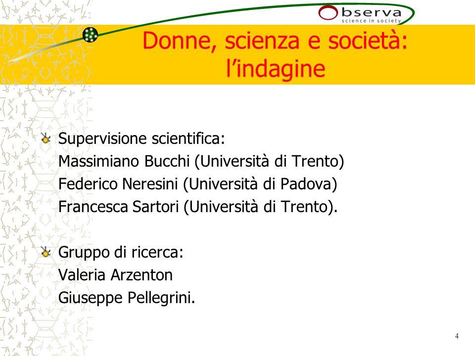 4 Donne, scienza e società: lindagine Supervisione scientifica: Massimiano Bucchi (Università di Trento) Federico Neresini (Università di Padova) Francesca Sartori (Università di Trento).
