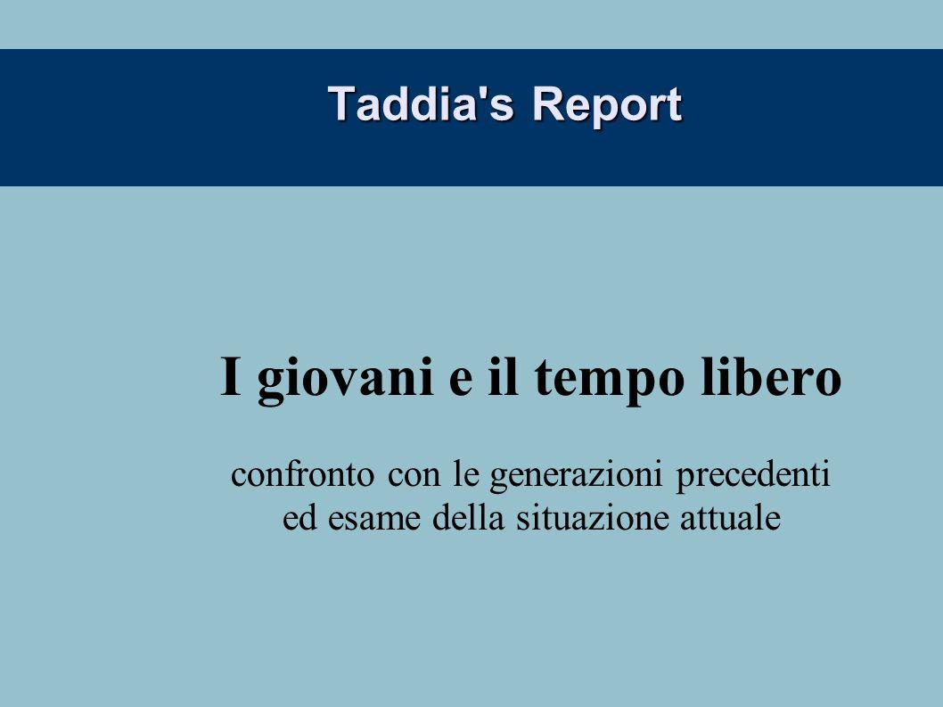 Taddia's Report I giovani e il tempo libero confronto con le generazioni precedenti ed esame della situazione attuale