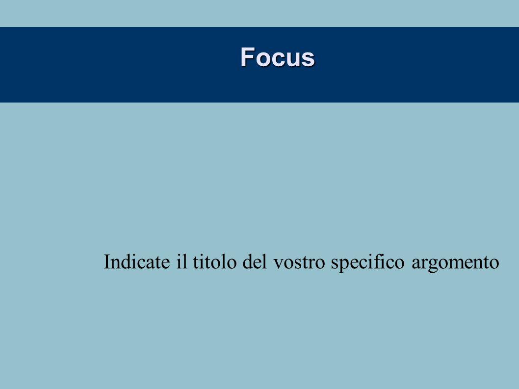 Focus Indicate il titolo del vostro specifico argomento