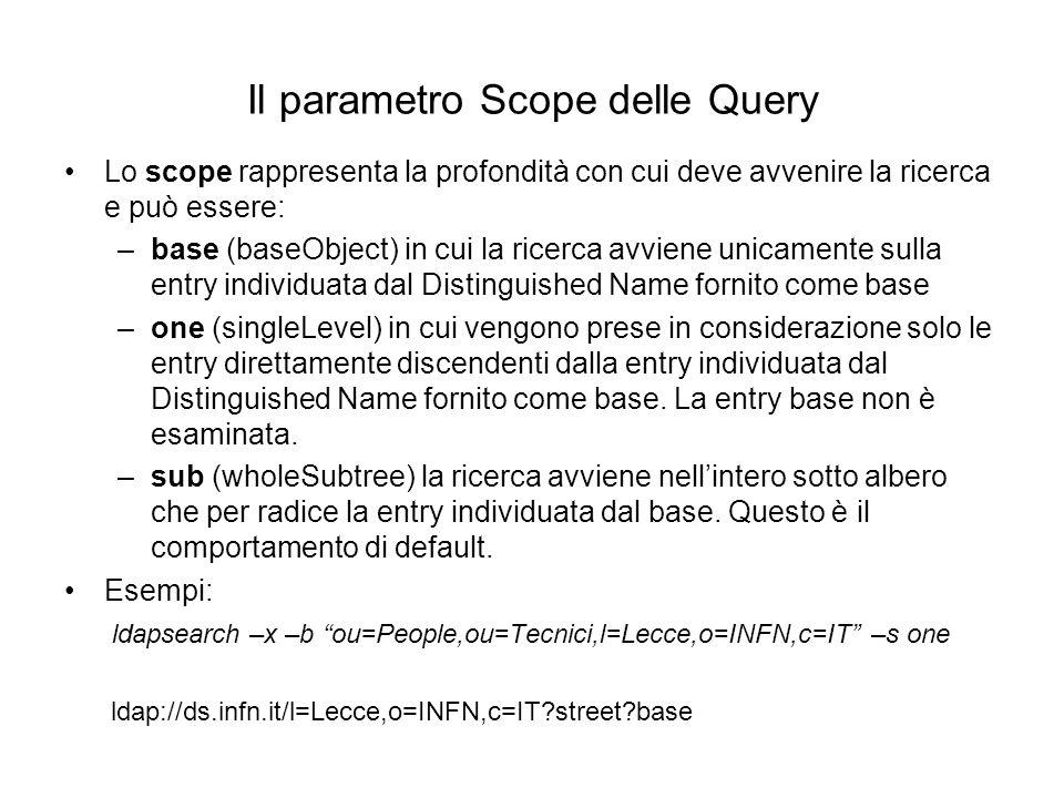Il parametro Scope delle Query Lo scope rappresenta la profondità con cui deve avvenire la ricerca e può essere: –base (baseObject) in cui la ricerca