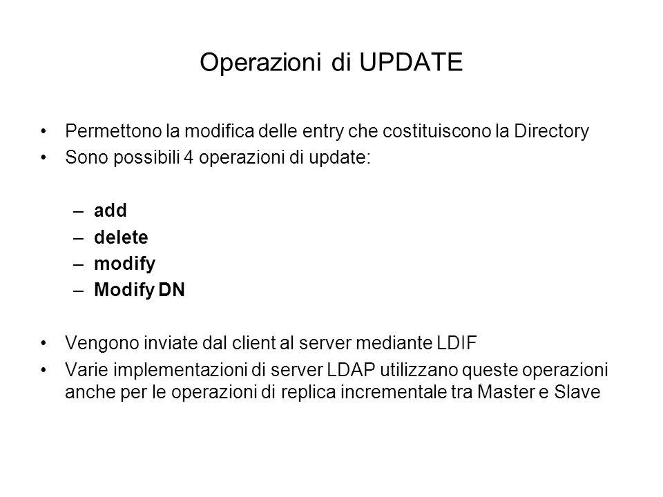 Operazioni di UPDATE Permettono la modifica delle entry che costituiscono la Directory Sono possibili 4 operazioni di update: –add –delete –modify –Mo