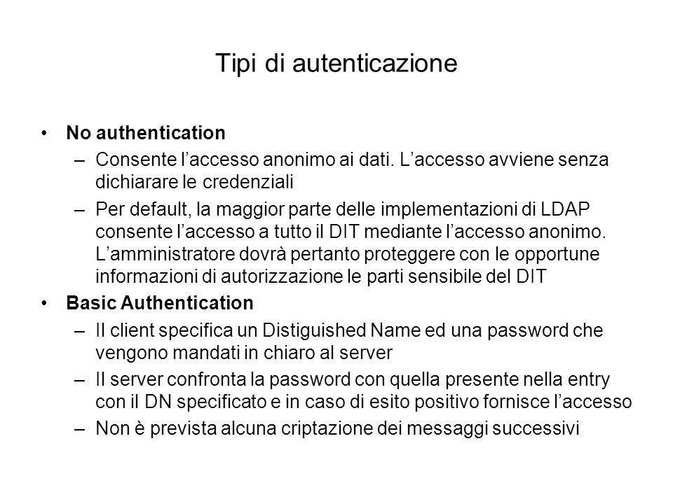 Tipi di autenticazione No authentication –Consente laccesso anonimo ai dati. Laccesso avviene senza dichiarare le credenziali –Per default, la maggior