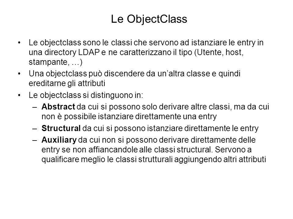 Esempio di classe abstract objectClasses: ( 2.5.6.0 NAME top DESC Standard LDAP objectclass ABSTRACT MUST objectClass X-ORIGIN RFC 2256 ) (Estratto dallo schema 00core.ldif del Fedora DS) La classe top è la classe da cui derivano tutte le altre classi Contiene il solo attributo necessario objectClass Non è possibile istanziare direttamente una entry dalla class top