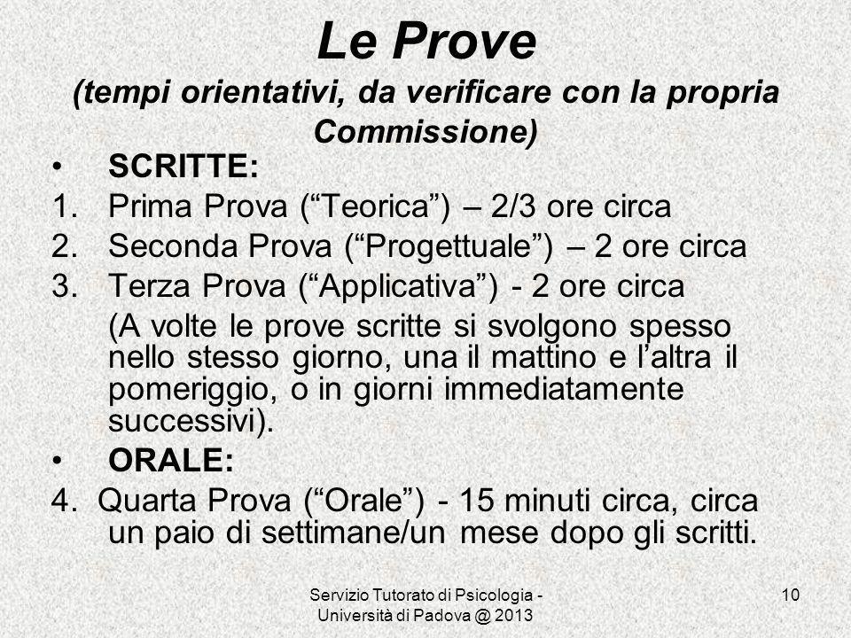 Servizio Tutorato di Psicologia - Università di Padova @ 2013 10 Le Prove (tempi orientativi, da verificare con la propria Commissione) SCRITTE: 1.Pri