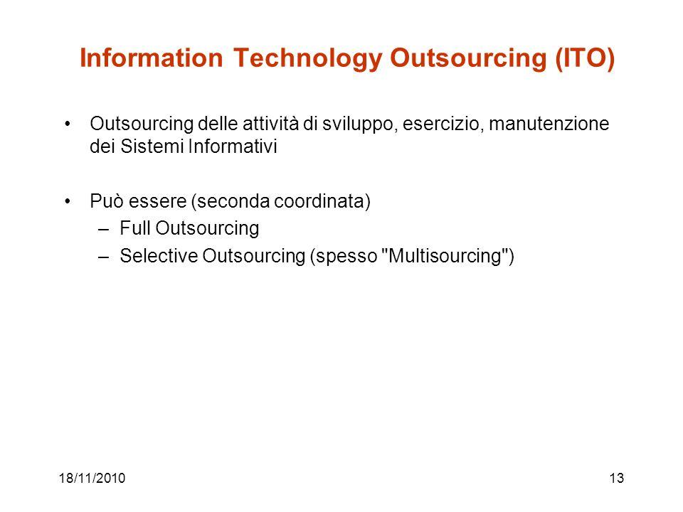 18/11/201013 Information Technology Outsourcing (ITO) Outsourcing delle attività di sviluppo, esercizio, manutenzione dei Sistemi Informativi Può essere (seconda coordinata) –Full Outsourcing –Selective Outsourcing (spesso Multisourcing )