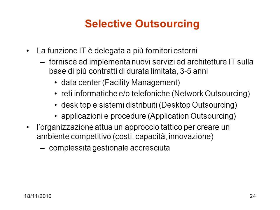 Selective Outsourcing La funzione IT è delegata a più fornitori esterni –fornisce ed implementa nuovi servizi ed architetture IT sulla base di più contratti di durata limitata, 3-5 anni data center (Facility Management) reti informatiche e/o telefoniche (Network Outsourcing) desk top e sistemi distribuiti (Desktop Outsourcing) applicazioni e procedure (Application Outsourcing) lorganizzazione attua un approccio tattico per creare un ambiente competitivo (costi, capacità, innovazione) –complessità gestionale accresciuta 18/11/201024