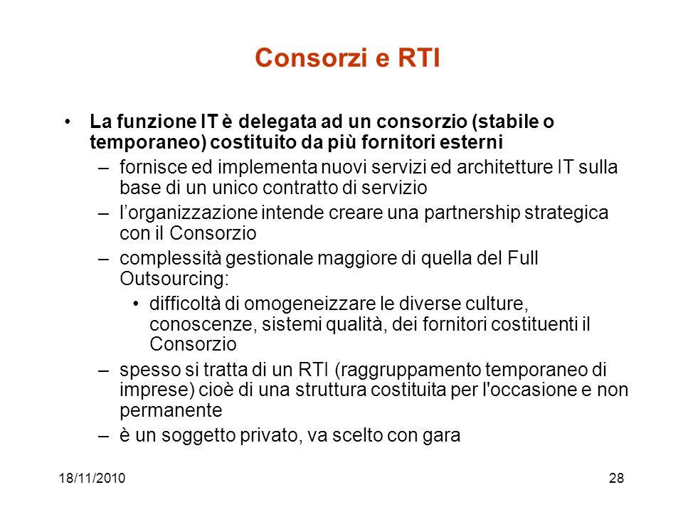 18/11/201028 Consorzi e RTI La funzione IT è delegata ad un consorzio (stabile o temporaneo) costituito da più fornitori esterni –fornisce ed implemen