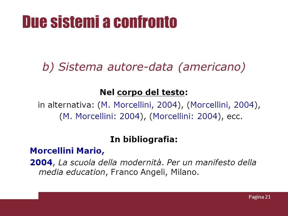 Pagina 21 Due sistemi a confronto b) Sistema autore-data (americano) Nel corpo del testo: in alternativa: (M. Morcellini, 2004), (Morcellini, 2004), (