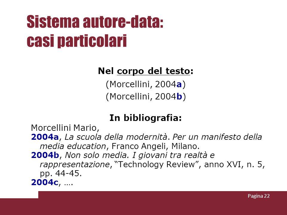 Pagina 22 Sistema autore-data: casi particolari Nel corpo del testo: (Morcellini, 2004a) (Morcellini, 2004b) In bibliografia: Morcellini Mario, 2004a,