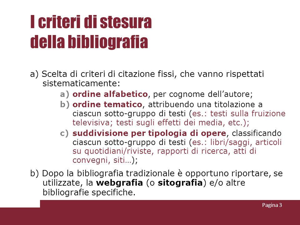 Pagina 3 I criteri di stesura della bibliografia a) Scelta di criteri di citazione fissi, che vanno rispettati sistematicamente: a)ordine alfabetico,