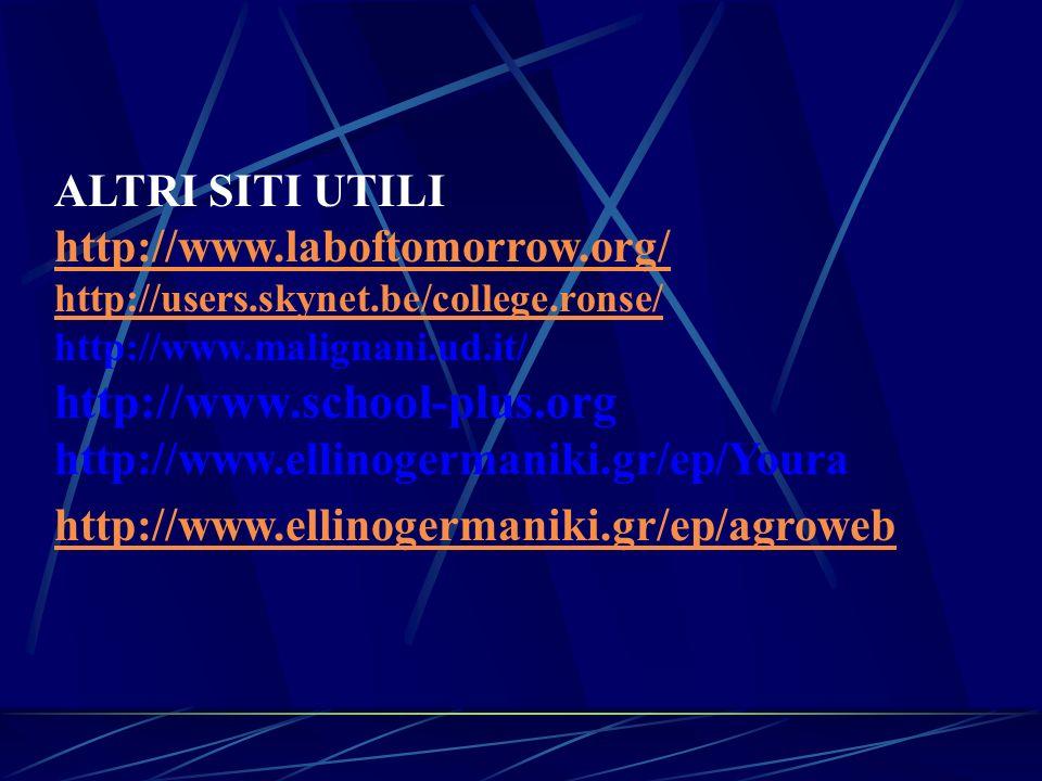 ALTRI SITI UTILI http://www.laboftomorrow.org/ http://users.skynet.be/college.ronse/ http://www.malignani.ud.it/ http://www.school-plus.org http://www