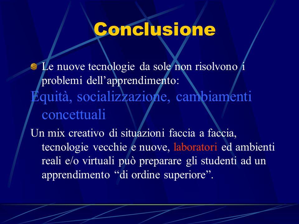 Conclusione Le nuove tecnologie da sole non risolvono i problemi dellapprendimento: Equità, socializzazione, cambiamenti concettuali Un mix creativo d