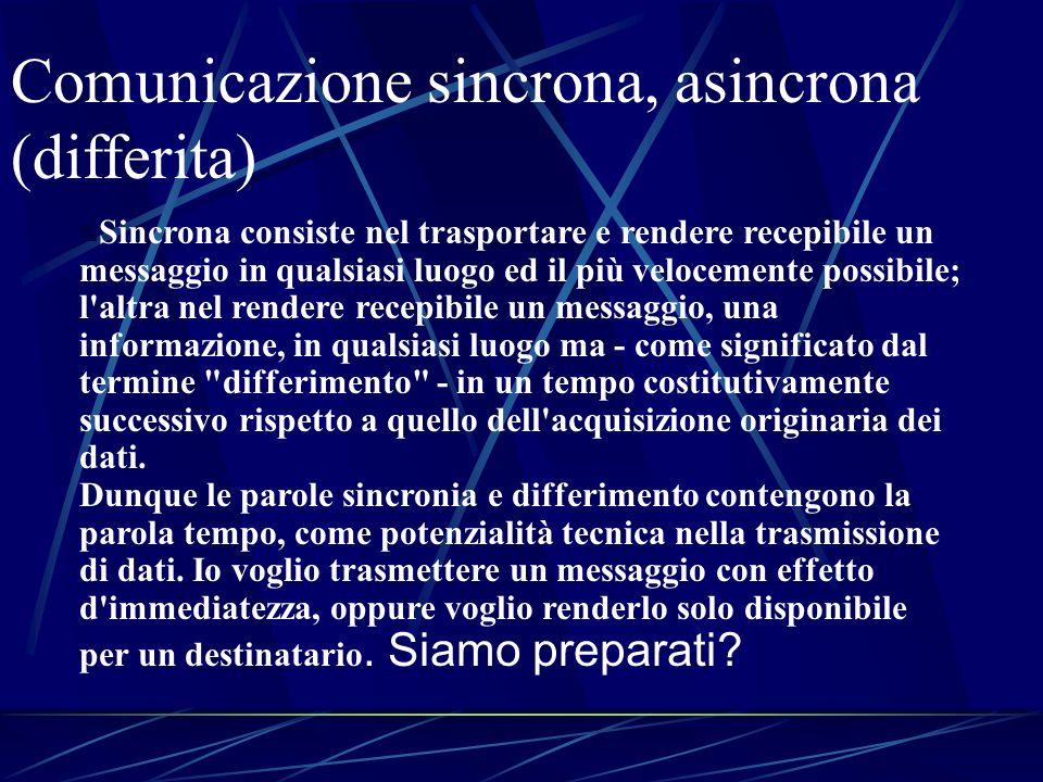 Comunicazione sincrona, asincrona (differita) n Sincrona consiste nel trasportare e rendere recepibile un messaggio in qualsiasi luogo ed il più veloc