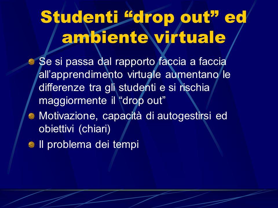 Studenti drop out ed ambiente virtuale Se si passa dal rapporto faccia a faccia allapprendimento virtuale aumentano le differenze tra gli studenti e s